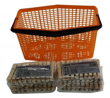 Klammerkorb + 100 Holzklammern