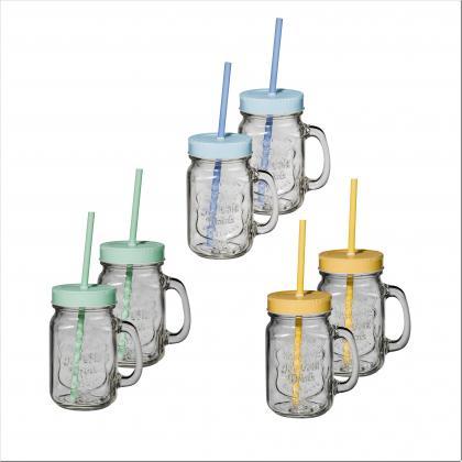 Trinkglas Partyglas 2er Set m. Deckel + Trinkhalm