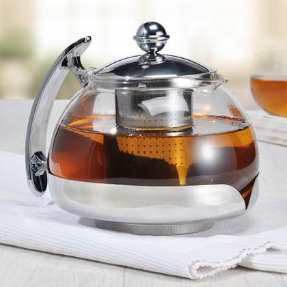 Teekanne 1,2l Glas/Edelstahl, mit Filter