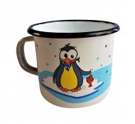 Kinderbecher 8cm emaill. Motiv Pinguin